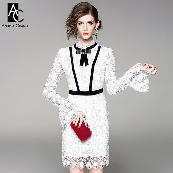 spring autumn woman dress beading collar bow black strip patchwork white lace dress flare sleeve vintage mini slim cotton dress