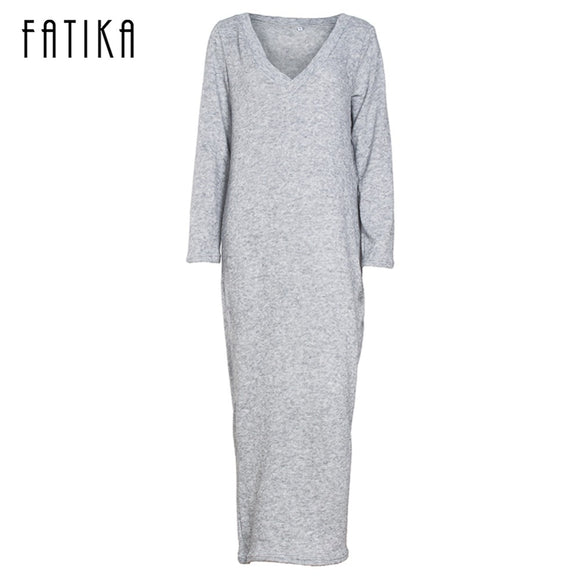 FATIKA 2017 Autumn Winter Women Fashion Long Sweater Dress Casual Long Sleeve V Neck Loose Knitted Dresses For Female