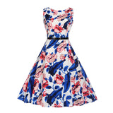 Bebovizi 2018 Summer Audrey Hepburn 50s Vintage Dress for Women Evening Party Floral Rockabilly Dresses Beautiful (Free Belt)