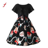 Feitong 2017 Women Dress 1950s 60s Robe Vintage Cat Printing Short Sleeve  Ladies Straps Spring Summer Party Dress Plus Size
