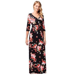 Ruiyige 2018 Women Sexy Half Sleeve Floral Print Tunic Vintage Vestidos Empire Waist Boho Dress Party Long Beach Maxi Robe