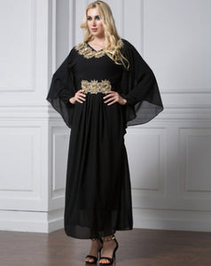 Empire Muslim Abaya Dress Patchwork Robe XL-7XL Plus Size Dubai Abaya Batwing Sleeve Kaftan Maxi Dresses Womens Clothing #D387