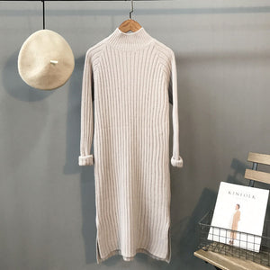 Ordifree 2017 Autumn Winter Women Knitted Dress Knitwear Long Pullover Knee Length Black Soft Warm Turtleneck Sweater Dress