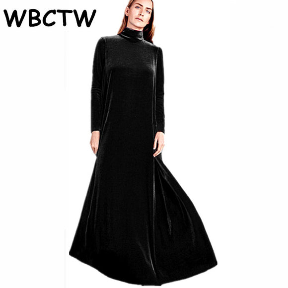 WBCTW Long Warm Winter Dress Solid A-Line Style Turleneck Long Sleeve 6XL 7XL Plus Size Velvet Dress 2018 Casual Loose Dress