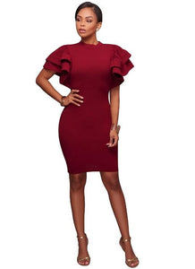 Sexy Yellow Bodycon Club Dresses Turtleneck Butterfly Sleeve Burgundy Sheath Wedding Party Women Dresses 2018 Ruffled Vestidos