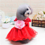 PETPETROL 2018 Pet Princess Dress Warm Peony floral Lace Sequins Skirt Dress Costume