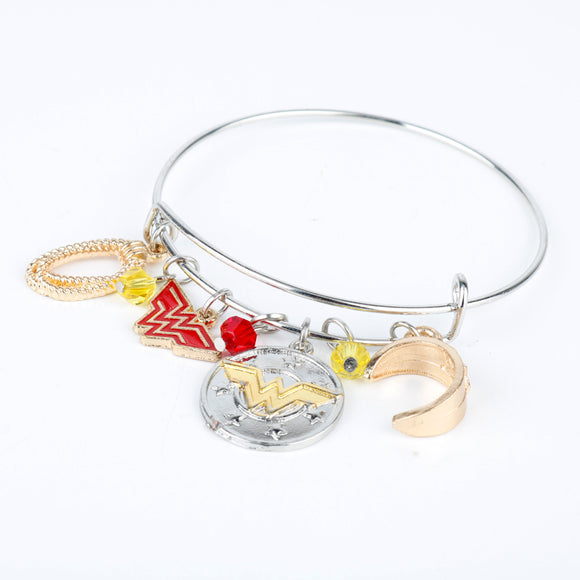 MQCHUN Wonder Woman Charm Bracelet Armor/Tiara/Crystals Bangle