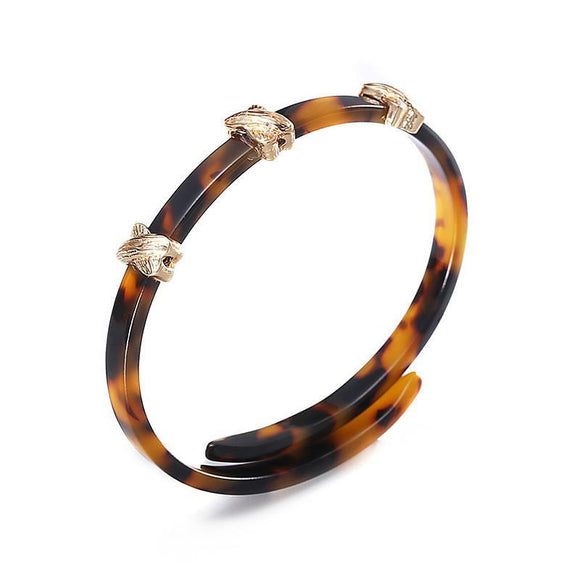 ATHENA 2018 Unique Design Punk Style Bracelet Trendy Leopard Print Geometric Acrylic Bangles For Women Charm Jewelry Wholesale