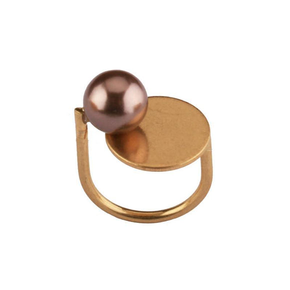 ATHENA 2018 Personality Acrylic Pearl Rings For Women Zinc Alloy Boho Party Accessories Gold Color Bague Femme Anillos Mujer Ring