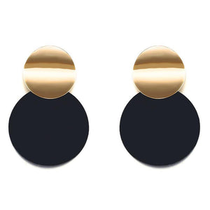 ATHENA 2018 Black Stud Earrings Trendy Gold Color Round Metal Statement Earrings