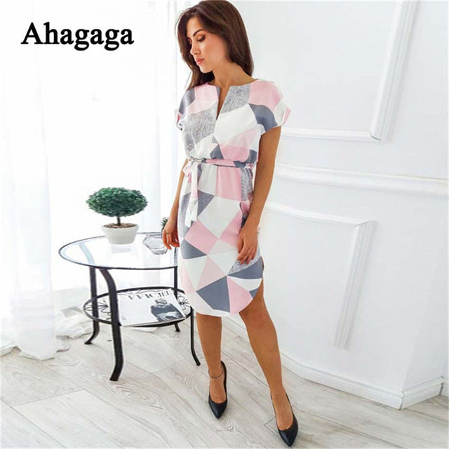 0b9a395db73 ... Ahagaga 2018 Summer Dress Women Fashion Print Elegant Cute Sashes O-neck  Sexy Slim Sheath
