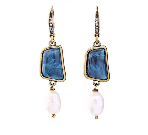 ATHENA 2018 Vintage Geometric Resin Stone Dangle Statement Earrings