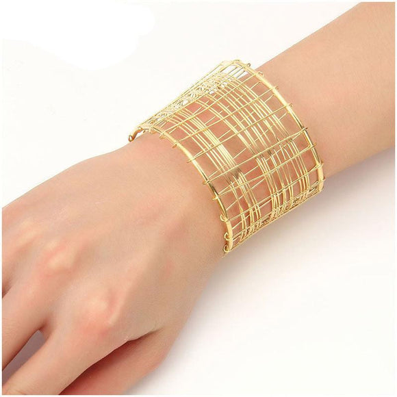 ATHENA 2018 brand Fashion Wide Hollow out Punk Bracelet Bangles for Women Jewelry Vintage punk gold color Maxi Cuff Bracelet