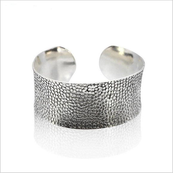 ATHENA 2018 fashion Vintage ethnic silver color Cuff Bracelet boho Carved flower Wide mouth bracelets bangle for women Jewelry