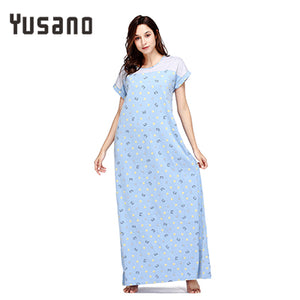 Yusano Women's Nightgown Cotton Long Nightdress Loose Sleepwear Dress Short Sleeve Casual Homewear Clothing Nightshirt O-Neck