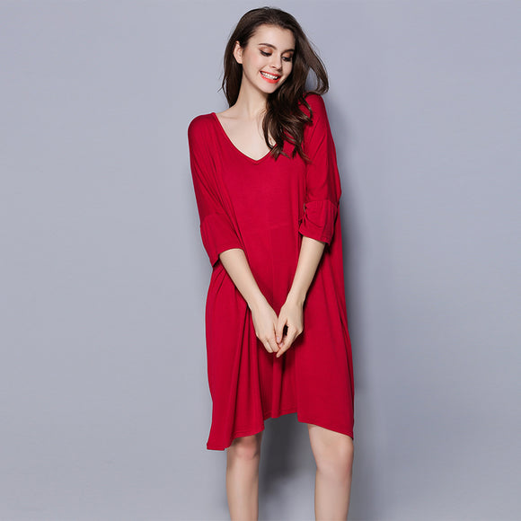 Plus Size Summer modal sleepdress women short sleeve sexy V-Neck Pure color modal nightgowns batwing sleeve womens nightshirts