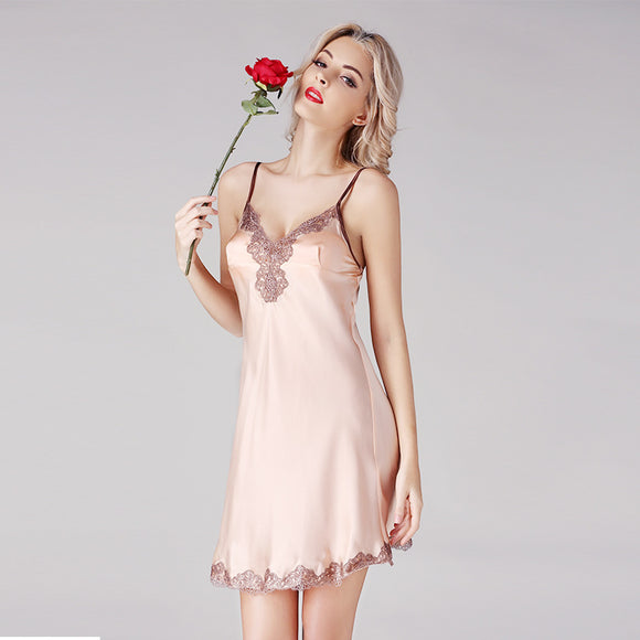 Summer 100% genuine silk nightgowns women spaghetti strap sleeveless deep v neck Sexy sleepdress nightdress nightshirts women