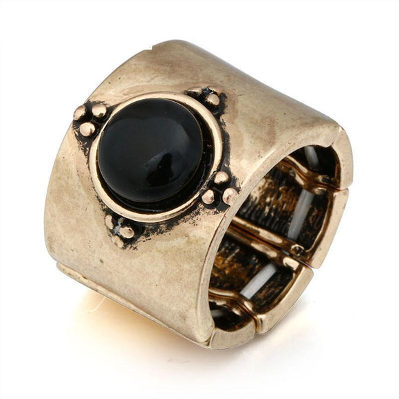 ATHENA 2018 Vintage Jewelry Blue Black Resin Stone Rings Adjustable Size Punk Statement Ring Men Women Party Gifts