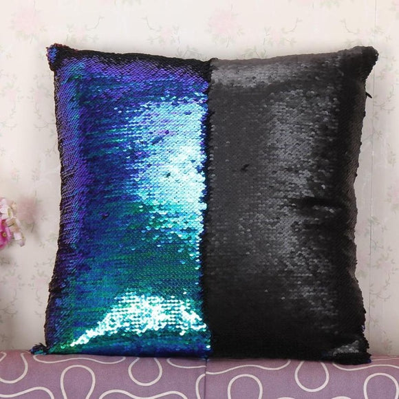 Egnara Rainbow Color Cushion Cover Pillowcase Reversible Sequin Mermaid Pillow Color Changing Throw Pillow Case Cover Sofa Home Decor