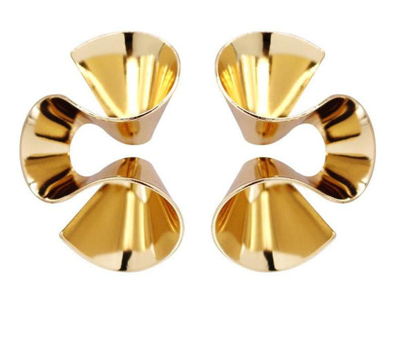 ATHENA 2018 Europe Stylish Statement Accessories Gold Color Stud Earrings