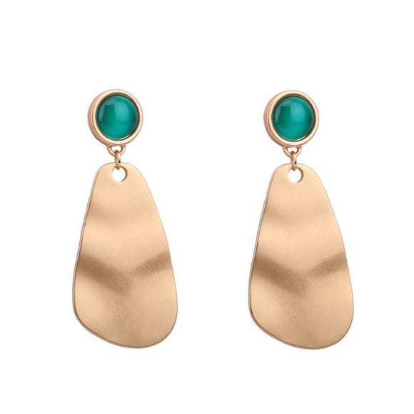 ATHENA 2018 Unique Design Ethnic Style Trendy Gold Color Green Opal Stud Earrings For Women Charm Jewelry Best Gift Dropship