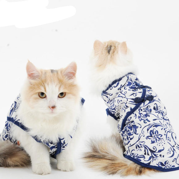 PETPETROL 2018 Blue And White Retro Style Warm Vest Dress Pet Clothing