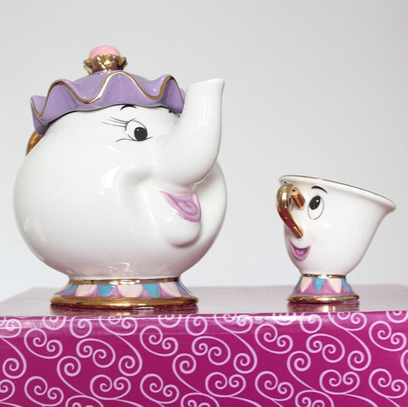Egnara Cartoon Beauty And The Beast Tea Set Teapot Cup Mrs Potts Chip Pot Mug Kettle Milk Coffee