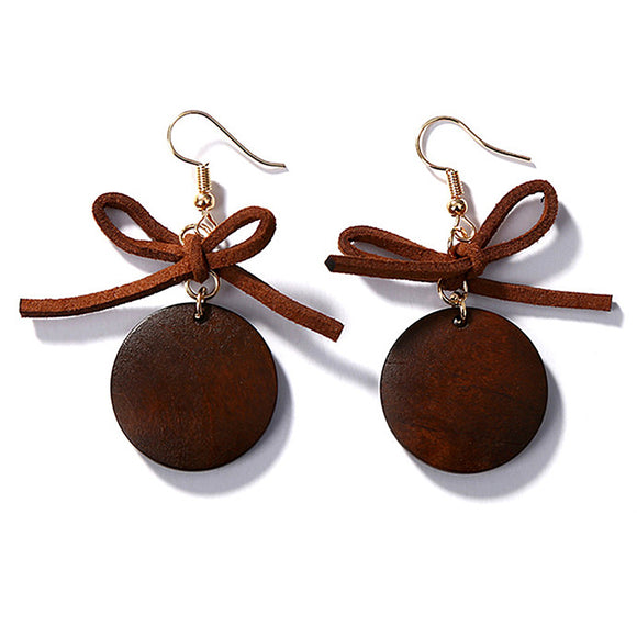 ATHENA 2018 Hot Trend Bowknot Round Wood Drop Dangle Earrings