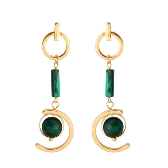 ATHENA 2018 New Arrival Bohemia Green Glass Earth Drop Earrings For Women Fashion Wedding Jewelry Party Earrings