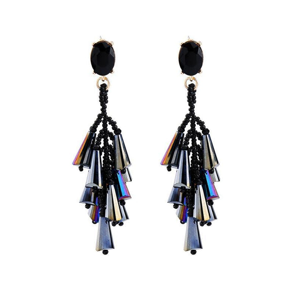 ATHENA 2018 Black Beads Crystal Irregular Handmade Long Tassel Drop Earring