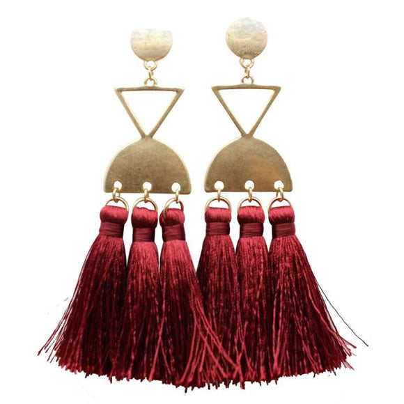 ATHENA 2018 Bohemia Vintage Fashion Cotton Long Tassel Geometric  Earrings For Women