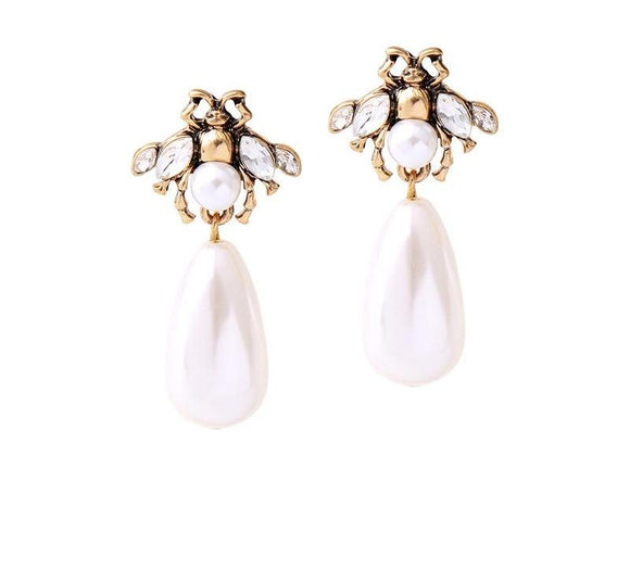 ATHENA 2018 Vintage Crystal Imulated Pearl Alloy Bee Flower Insect Stud Earrings