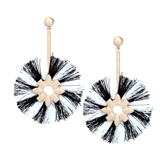 ATHENA 2018 Bohemia Pompom Vintage Tassel Round Statement Earrings