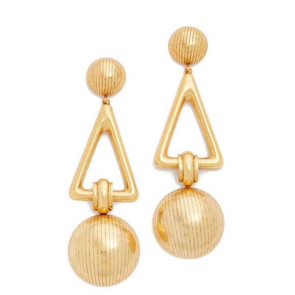 ATHENA 2018 Gold Hyperbole Geometric Metal Vintage Stud Earrings For Women