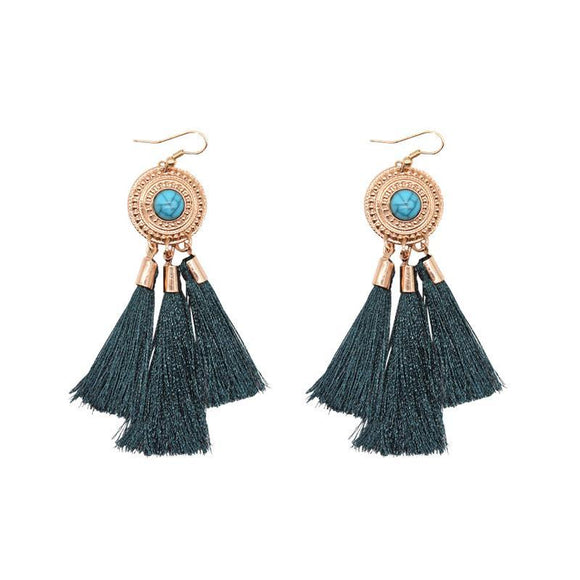 ATHENA 2018 Simple Fashion Green Tassel Earrings Personality Bohemian Ethnic Jewelry Cheap Fringed Round Dangle Drop Earrings