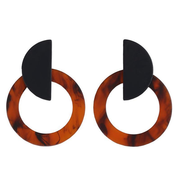 ATHENA 2018 Unique Design Punk Earrings Trendy Leopard Print Round Acrylic Stud Earrings For Women Fashion Jewelry Wholesale