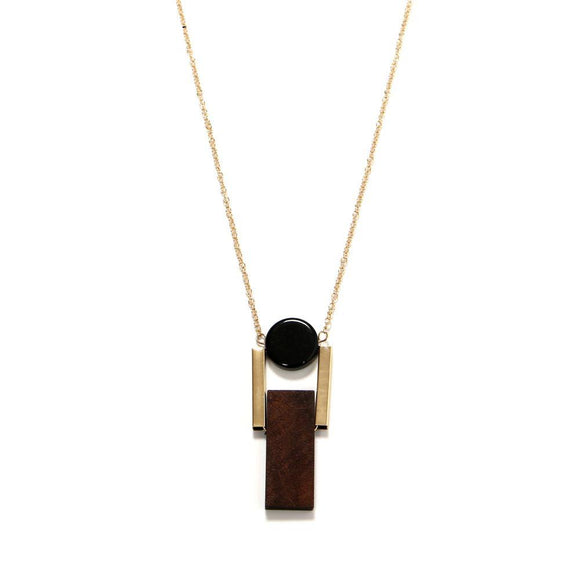 ATHENA 2018 Fashion Simple Necklace For Women Trendy Unique Black Geometric Pendant Necklace Wood Maxi Necklace Bijoux Jewelry