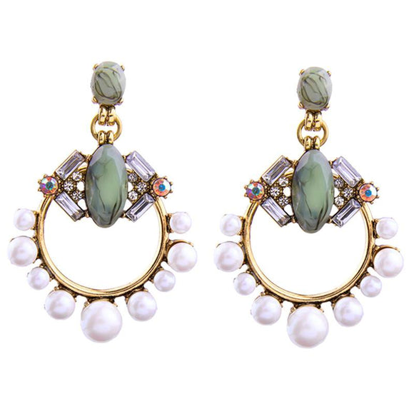 ATHENA 2018  Hyperbole Crystal Simulated Pearl Stud Statement Earrings