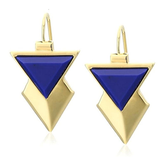 ATHENA 2018 New Designer Gold Color Blue Acrylic Stud Earrings For Women