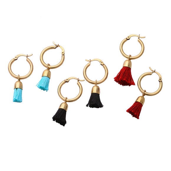 ATHENA 2018 Round Hollow Candy Color Tassel Earrings For Women Brand Bijoux Fashion Metal Stud Earrings