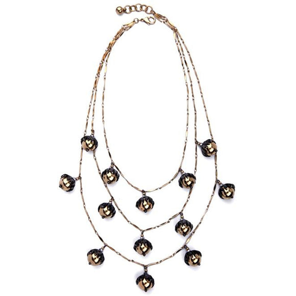 ATHENA 2018 Luxury Multiple Layer Round Alloy Flowers Necklace For Women Chunky Statement Factory Wholesale