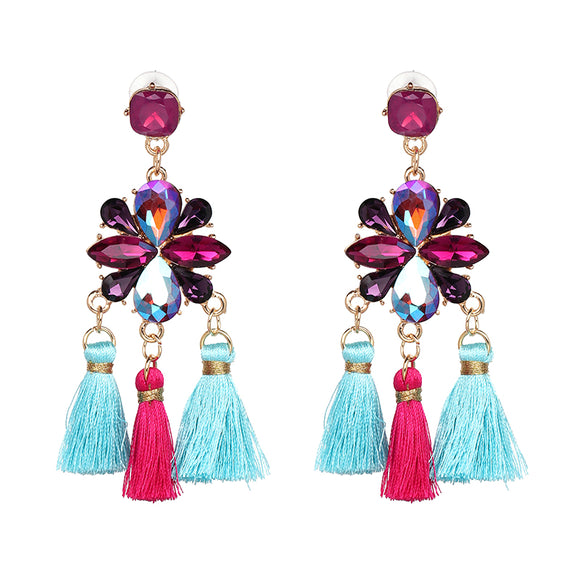 ATHENA 2018 New Trend Bohemia Dangle Earring Ethnic Statement Three Tassels Drops Crystal Dangle Earring For Women