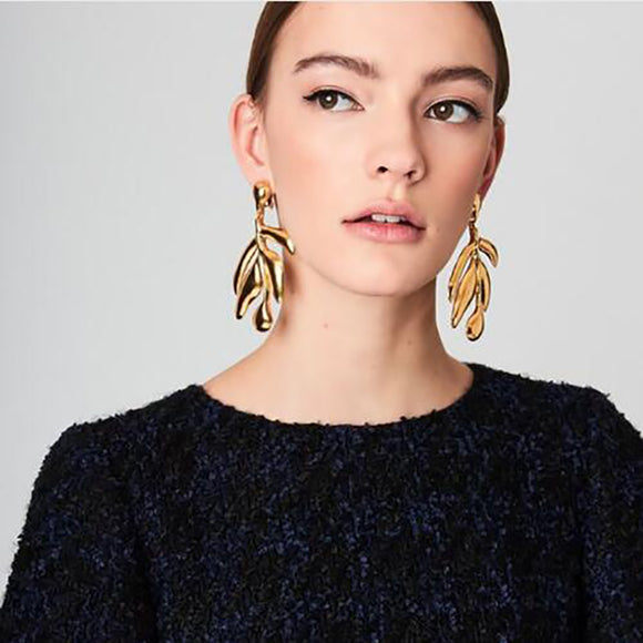 ATHENA 2018 New Arrival Vintage Statement Jewelry Metal Leaf Drops Earrings Maxi Dangle Earrings for Women Accessories Brincos Wholesale