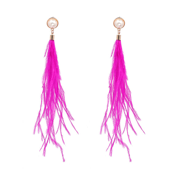 ATHENA 2018 BOHO Statement Jewelry Simulated-pearl Dangle Long Cotton Tassel Drops Earrings