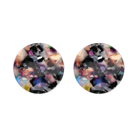 ATHENA 2018 Big Round Resin Stud Earrings Vintage Statement Jewelry