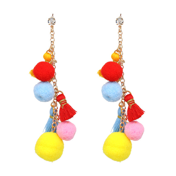 ATHENA 2018 Colorful Vintage Link Chain Pompom Statement Dangle Earrings