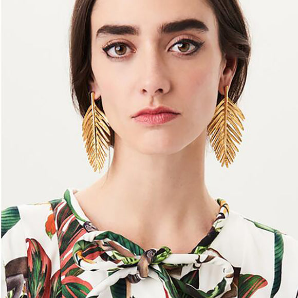 ATHENA 2018 New Vintage Statement Jewelry Metal Leaf Drops Earrings Maxi Dangle Earrings for Women Accessories Brincos Wholesale
