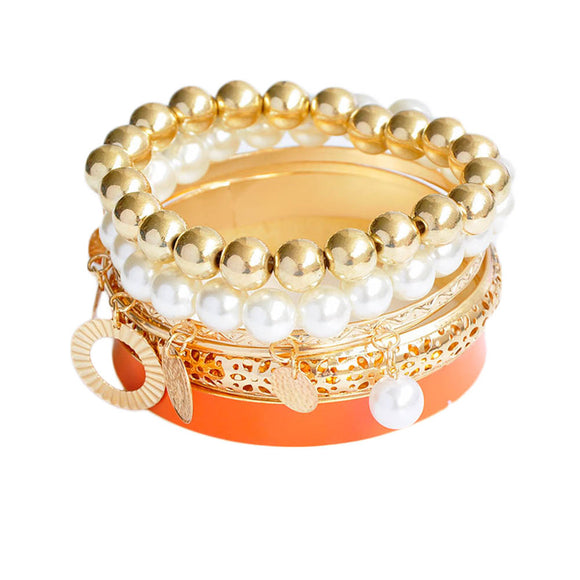 ATHENA 2018 Hollow Pearl Coins Element Avatar Statement Charm Multilayer Bangle and Bracelet Fashion Jewelry Women