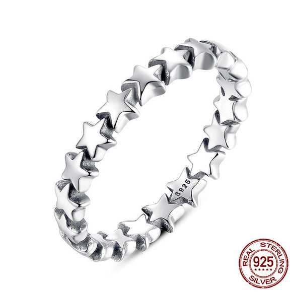 Sattaj 925 Sterling Silver Star Style Stackable Rings
