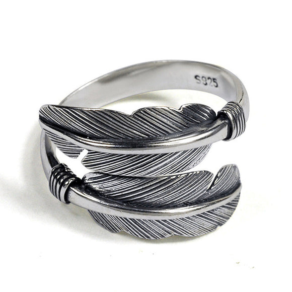Sattaj 925 Sterling Silver Feather Ring